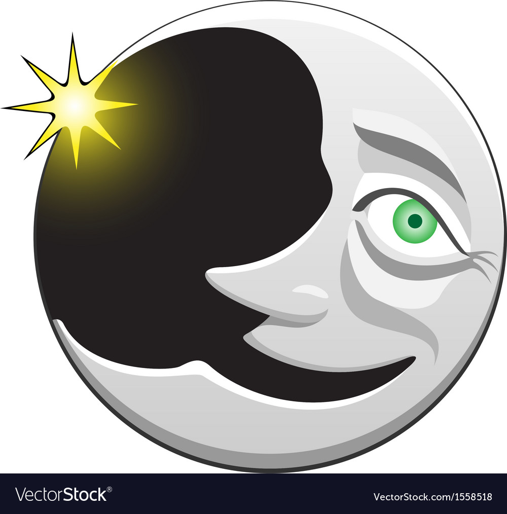 Cheerful crescent character vector | Price: 1 Credit (USD $1)