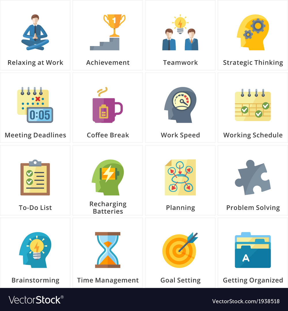 Flat productivity at work icons vector | Price: 1 Credit (USD $1)