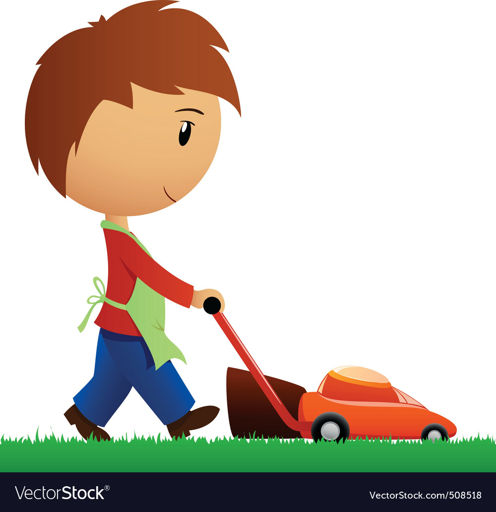Man cutting the grass with lawn mower vector | Price: 1 Credit (USD $1)
