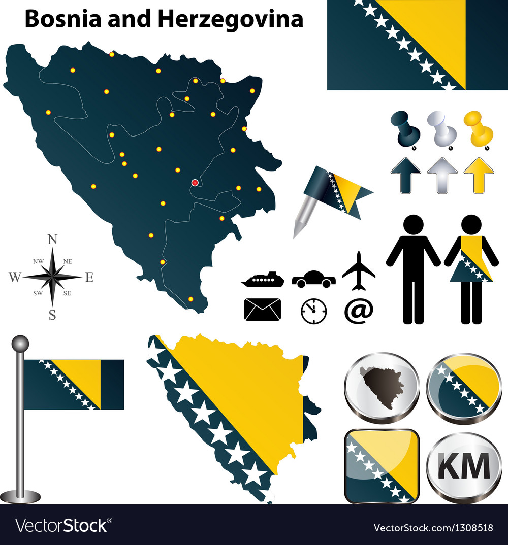 Map of bosnia and herzegovina vector | Price: 1 Credit (USD $1)