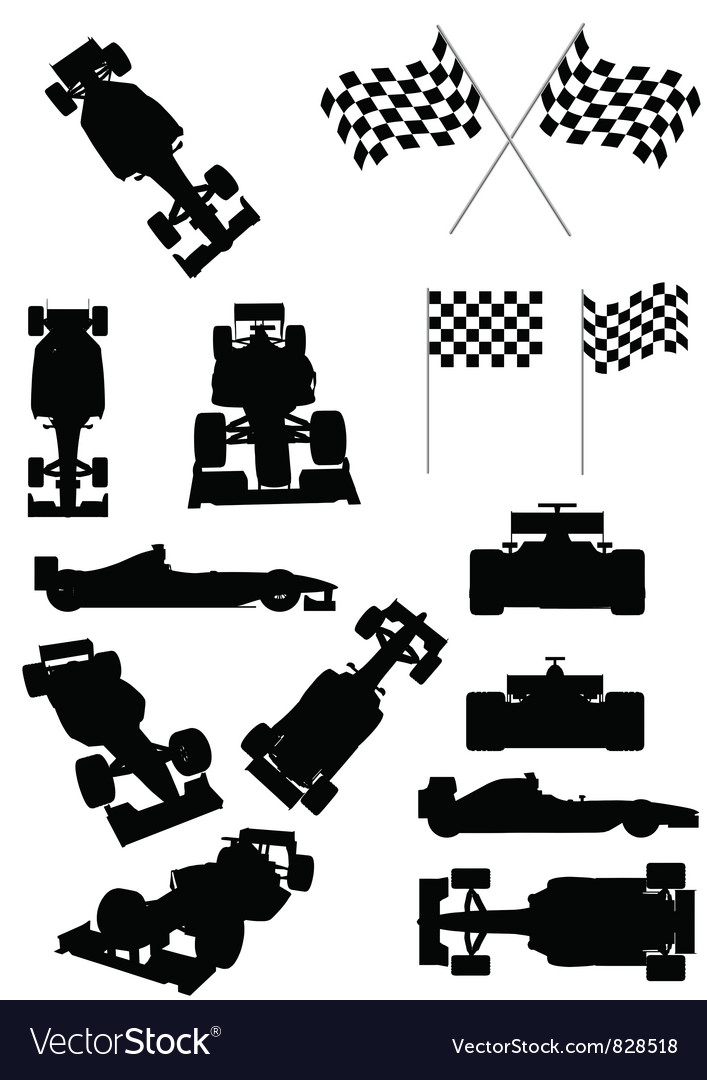 Racing car silhouette vector | Price: 1 Credit (USD $1)