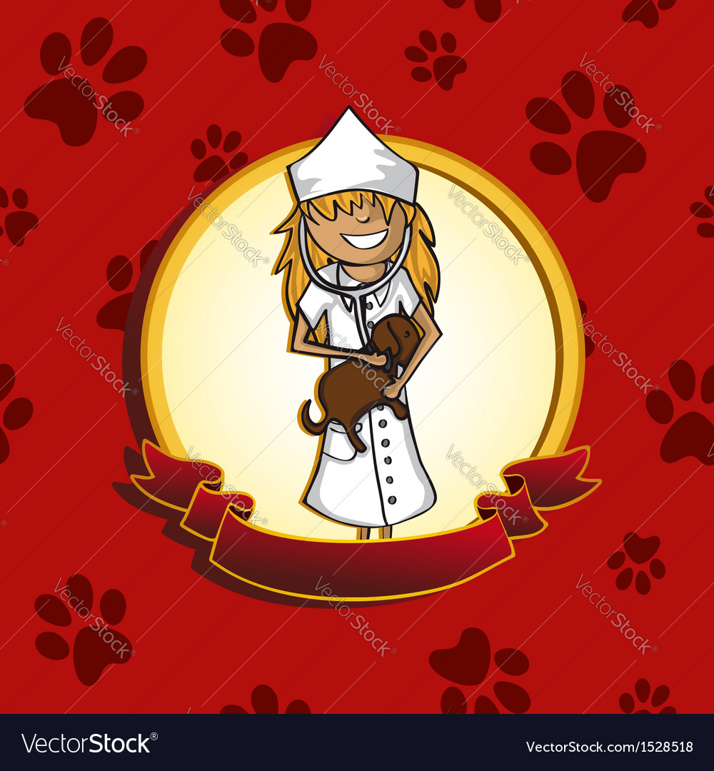 Service vet doctor girl cartoon label icon vector | Price: 1 Credit (USD $1)