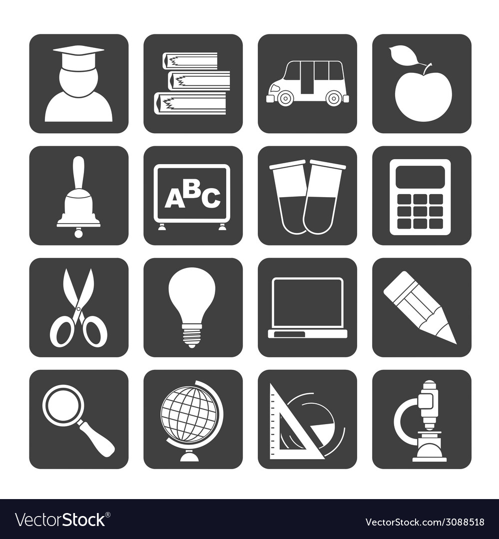 Silhouette education and school icons vector | Price: 1 Credit (USD $1)