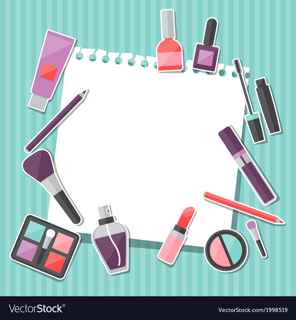 Beauty background with icons cosmetics vector | Price: 1 Credit (USD $1)