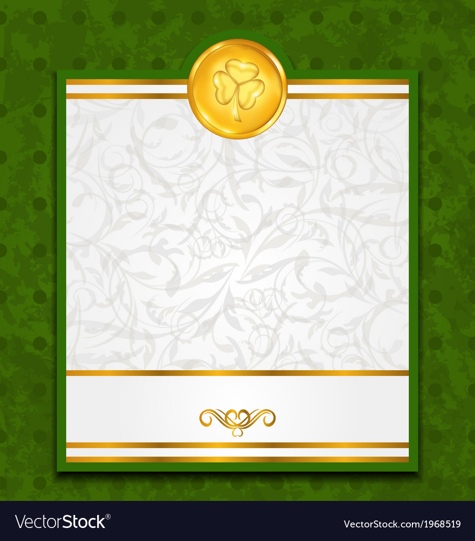 Celebration card with coin for st patricks day vector | Price: 1 Credit (USD $1)