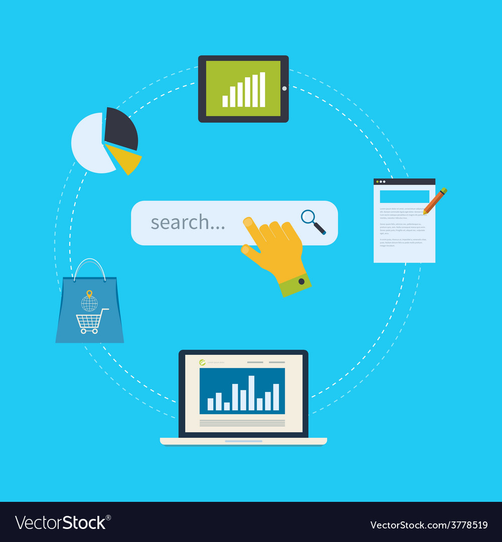 Concept of website analytics and seo data analysis vector   Price: 1 Credit (USD $1)