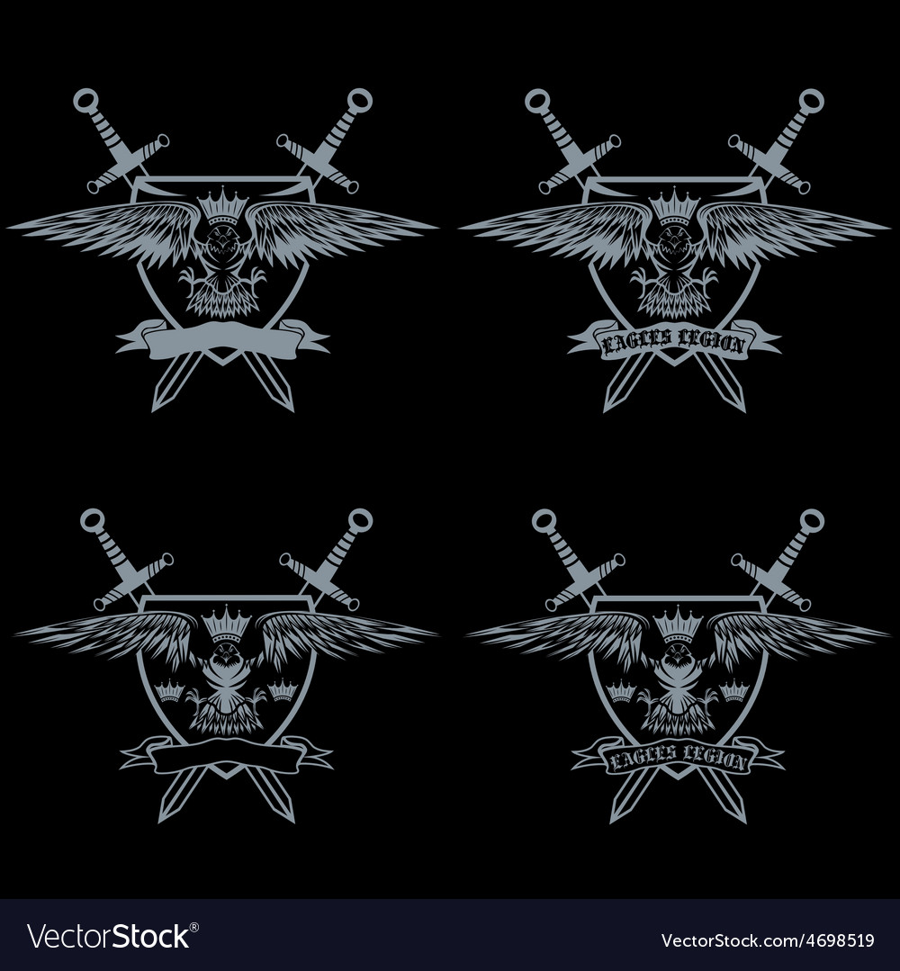 Eagle with crown and swords crests collection vector   Price: 1 Credit (USD $1)