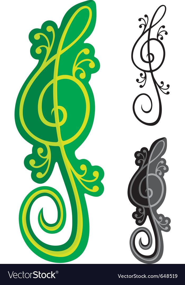 Lizards treble clef vector | Price: 1 Credit (USD $1)