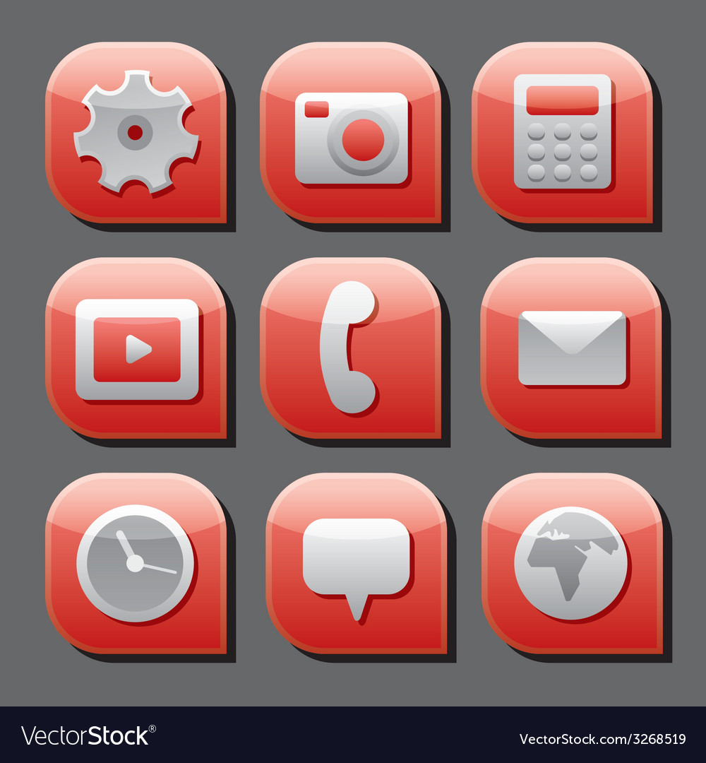 Mobile interface icon set vector | Price: 1 Credit (USD $1)