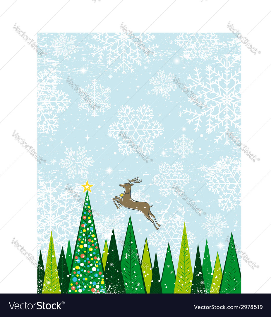 Running deer in the christmas forest vector | Price: 1 Credit (USD $1)