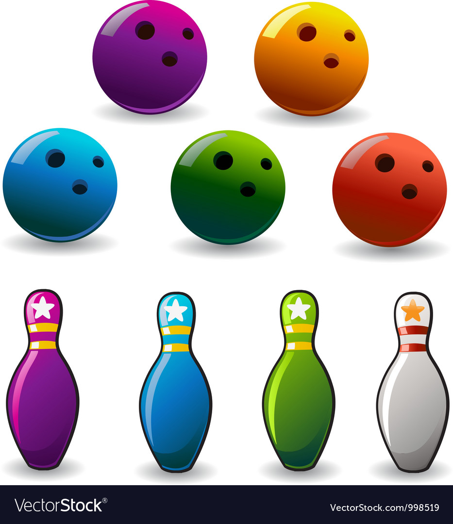 Set of colored bowling and pin vector | Price: 1 Credit (USD $1)