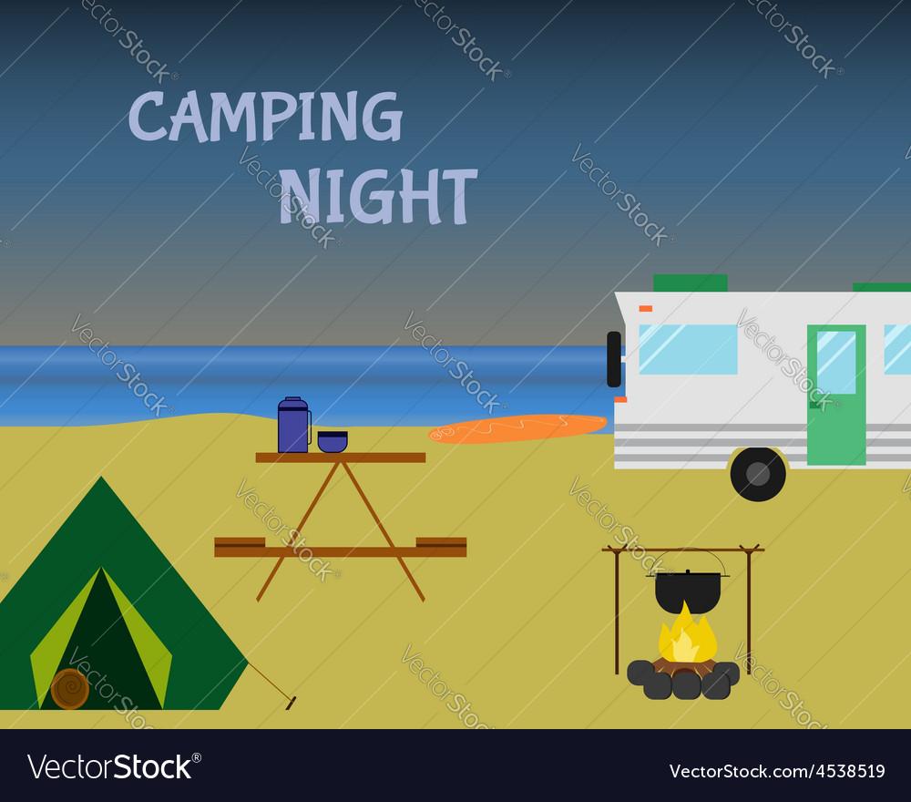 Vintage camping night concept retro caravan vector | Price: 1 Credit (USD $1)