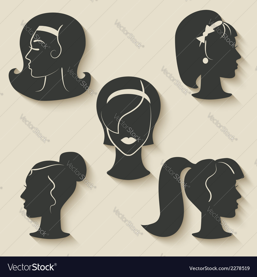 Women hairstyle icons vector | Price: 1 Credit (USD $1)