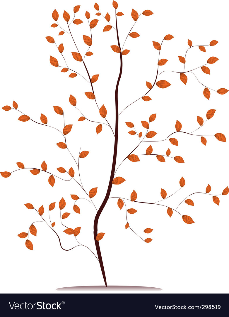 Young tree in autumn vector | Price: 1 Credit (USD $1)