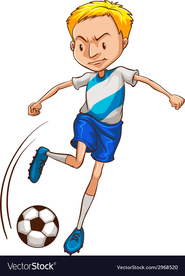 A simple coloured sketch of a soccer player vector | Price: 1 Credit (USD $1)