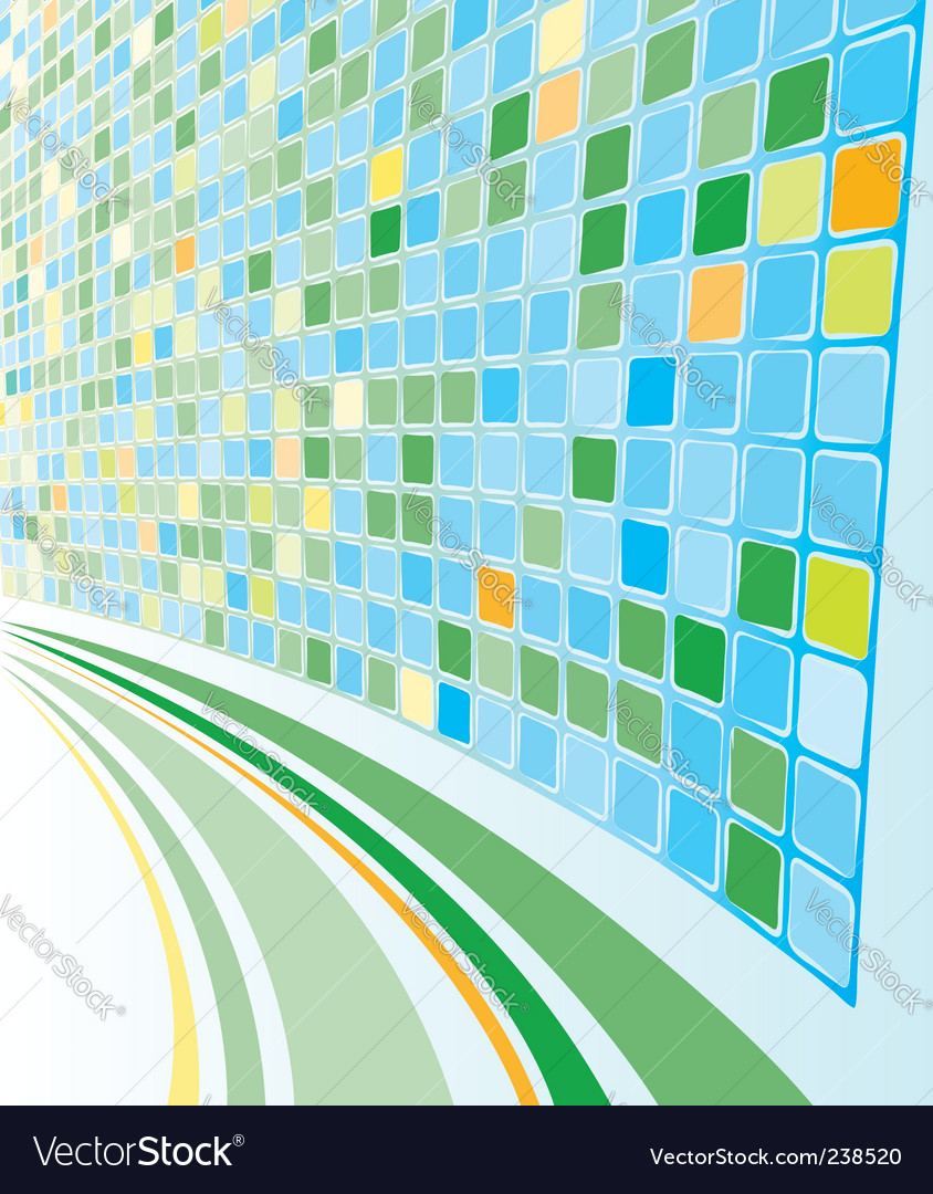 Abstract perspective cyan mosaic background vector