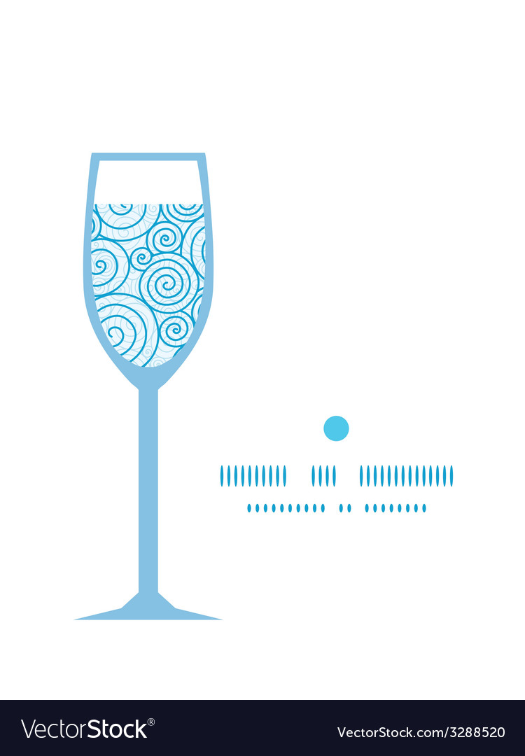 Abstract swirls wine glass silhouette pattern vector   Price: 1 Credit (USD $1)