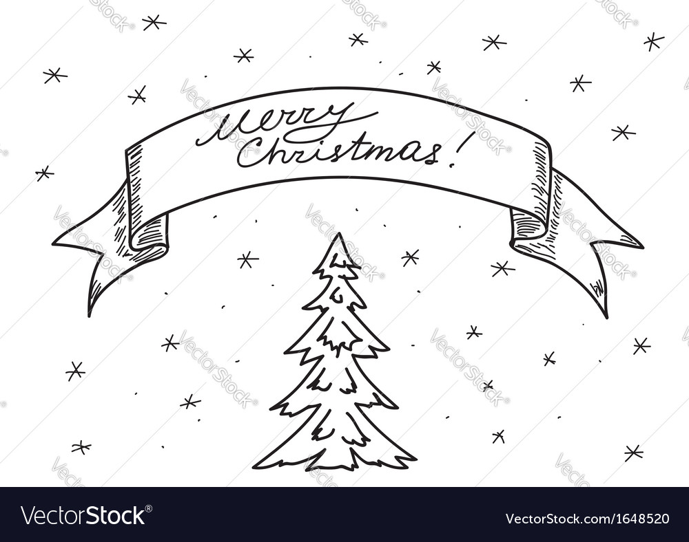Card - merry christmas - hand drawing vector | Price: 1 Credit (USD $1)