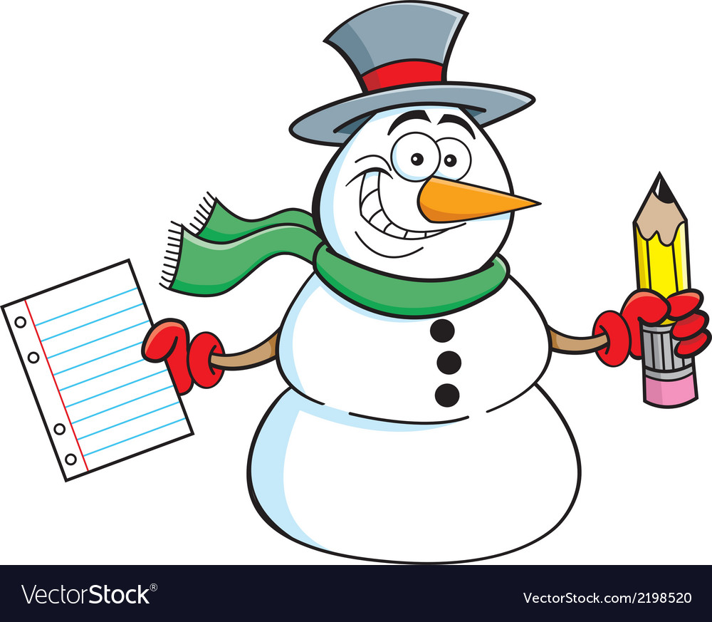 Cartoon snowman student vector | Price: 1 Credit (USD $1)