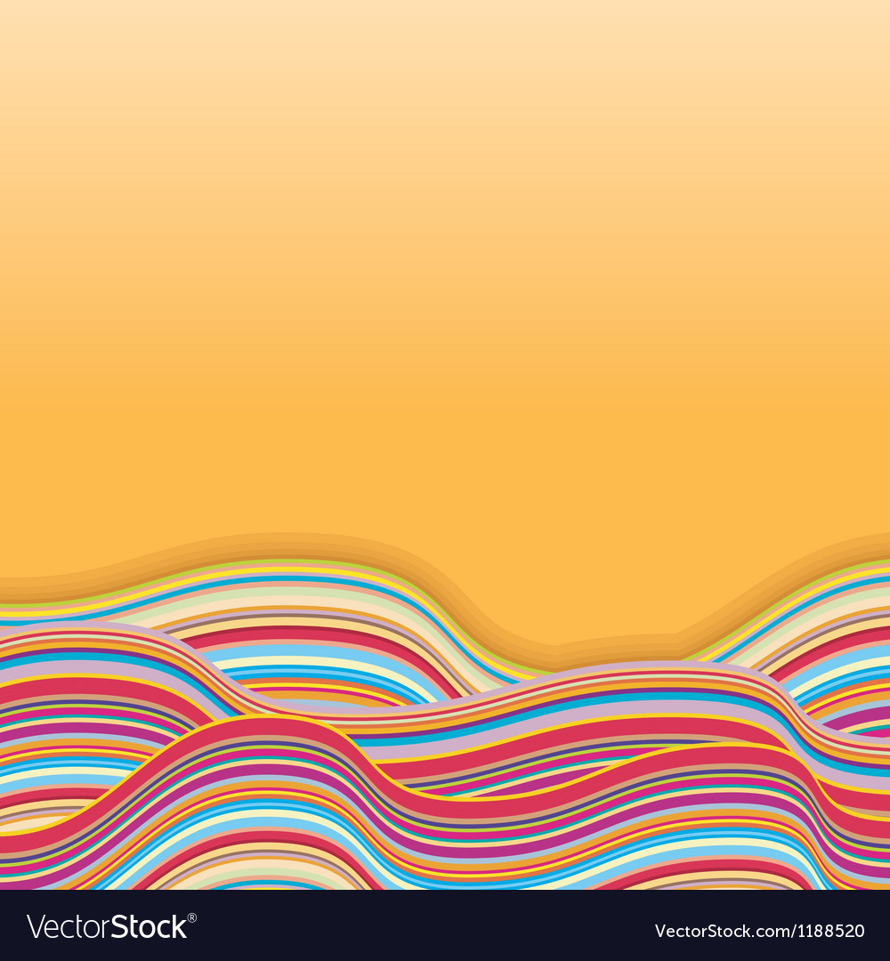 Colorful stripe waves retro background vector | Price: 1 Credit (USD $1)