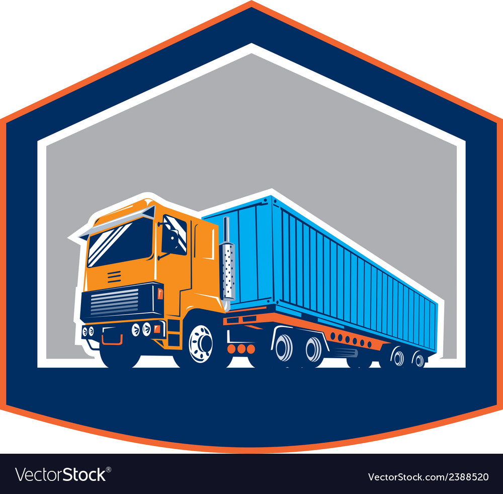 Container truck and trailer shield retro vector | Price: 1 Credit (USD $1)