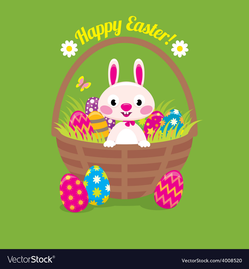 Easter bunny in a basket with easter eggs on a gre vector | Price: 1 Credit (USD $1)