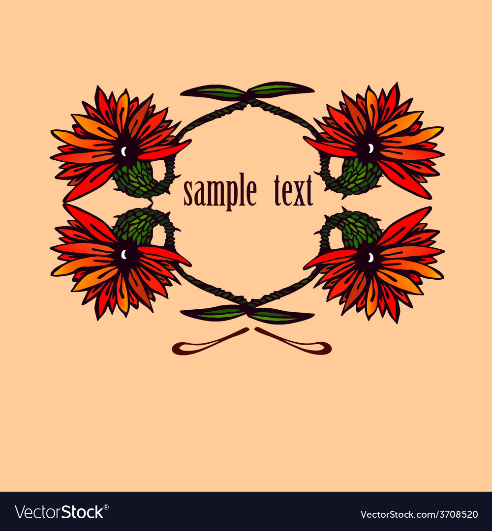 Flowers with sample text vector | Price: 1 Credit (USD $1)