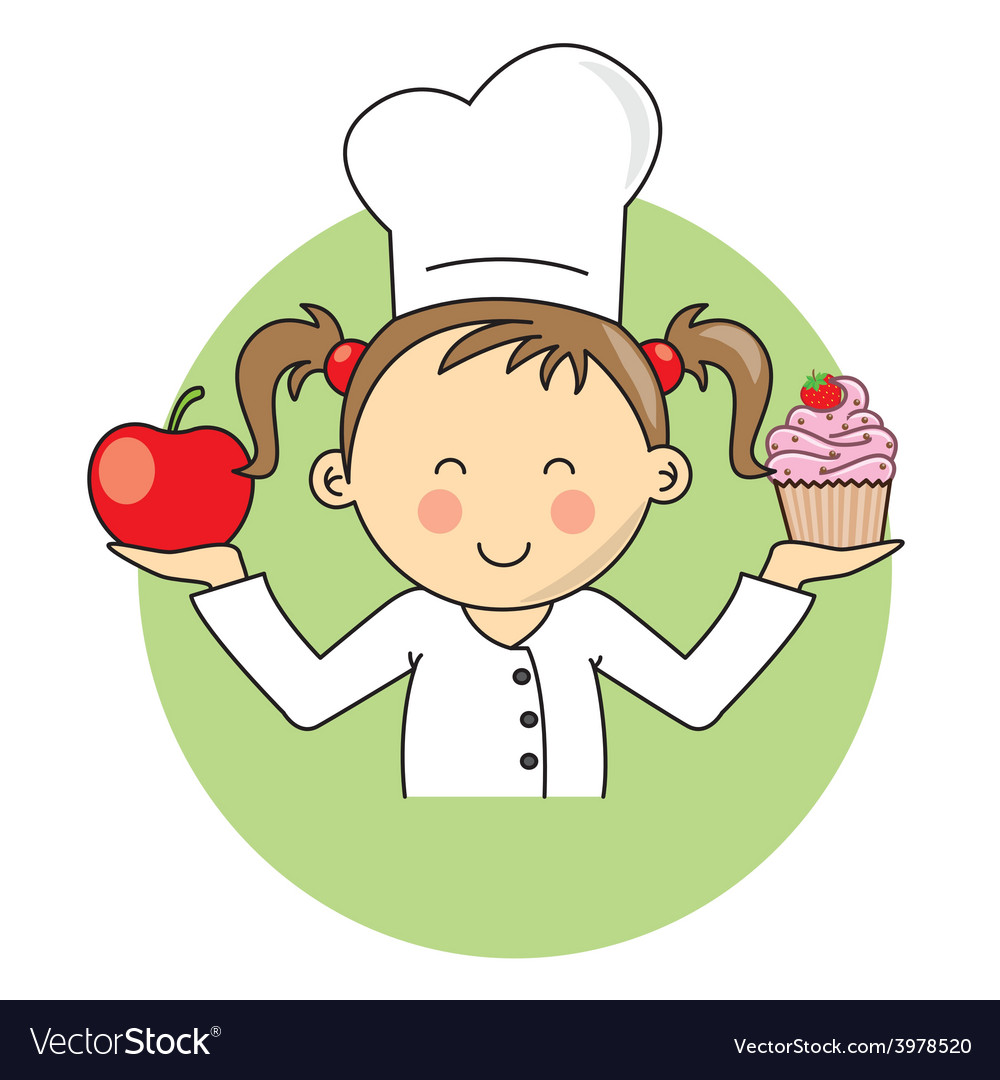Girl with apple and cake vector