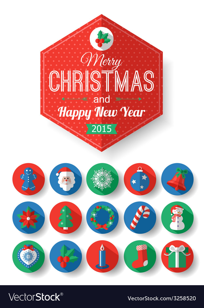 Set of christmas typographical label and round vector | Price: 1 Credit (USD $1)