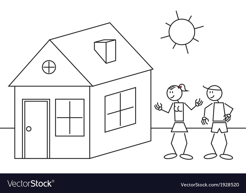 Stick figures house vector | Price: 1 Credit (USD $1)
