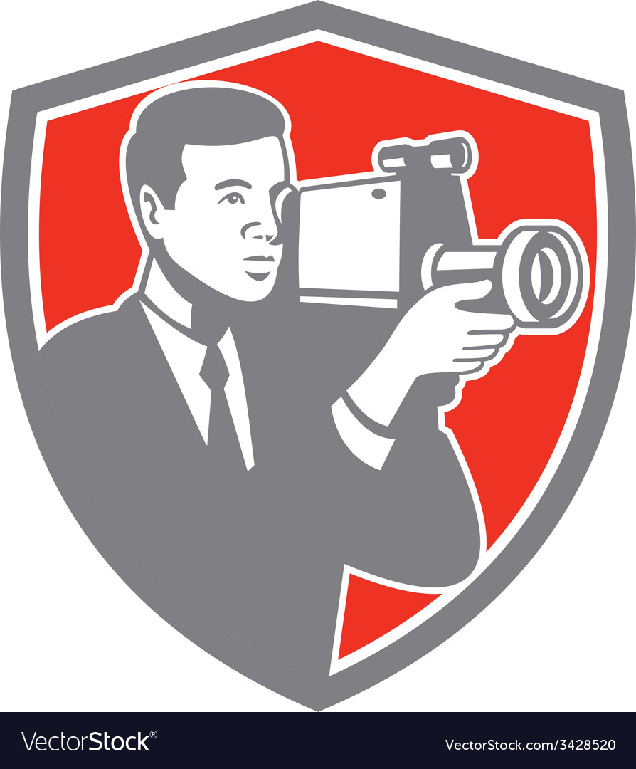 Video cameraman shooting vintage shield retro vector | Price: 1 Credit (USD $1)
