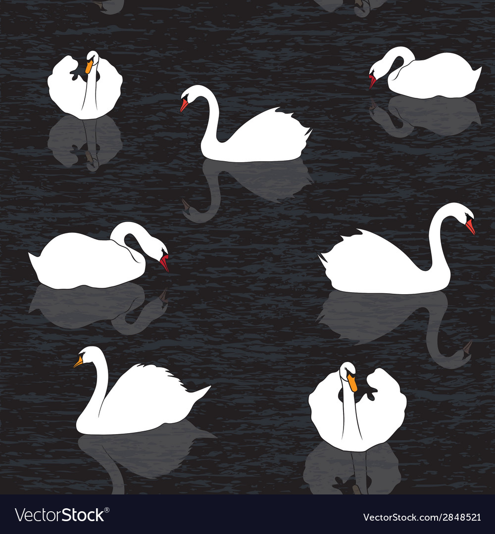 Bird water background swans and lake seamless patt vector | Price: 1 Credit (USD $1)