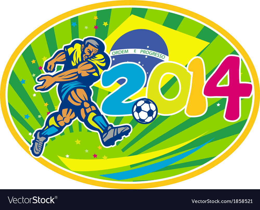 Brazil 2014 soccer football player kicking ball vector | Price: 1 Credit (USD $1)