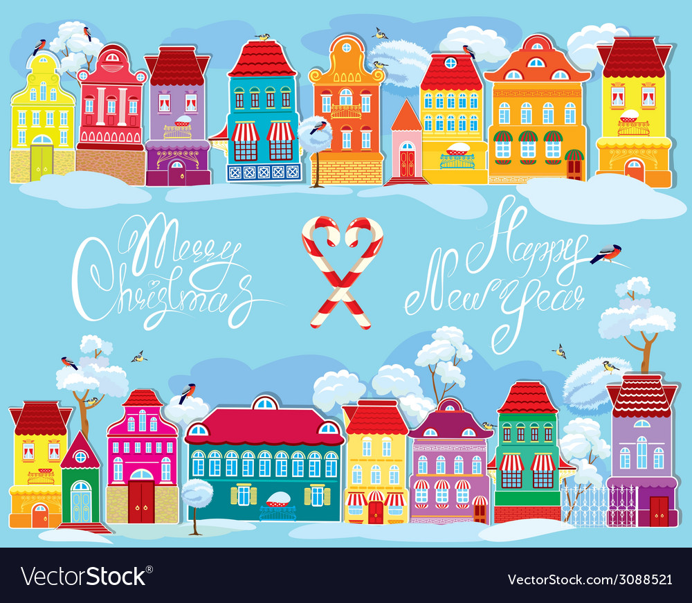 Christmas and new year holidays card with small fa vector | Price: 1 Credit (USD $1)