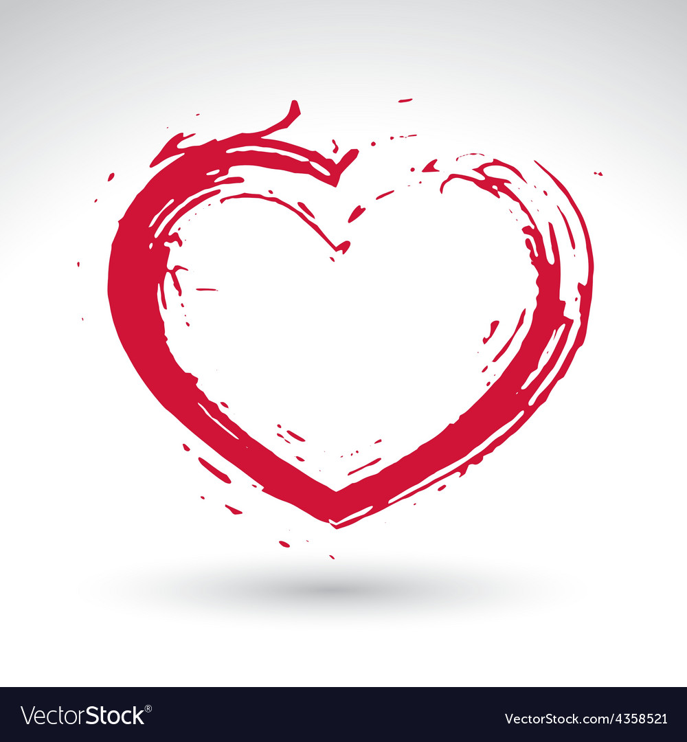 Hand drawn red love heart icon loving heart sign vector | Price: 1 Credit (USD $1)
