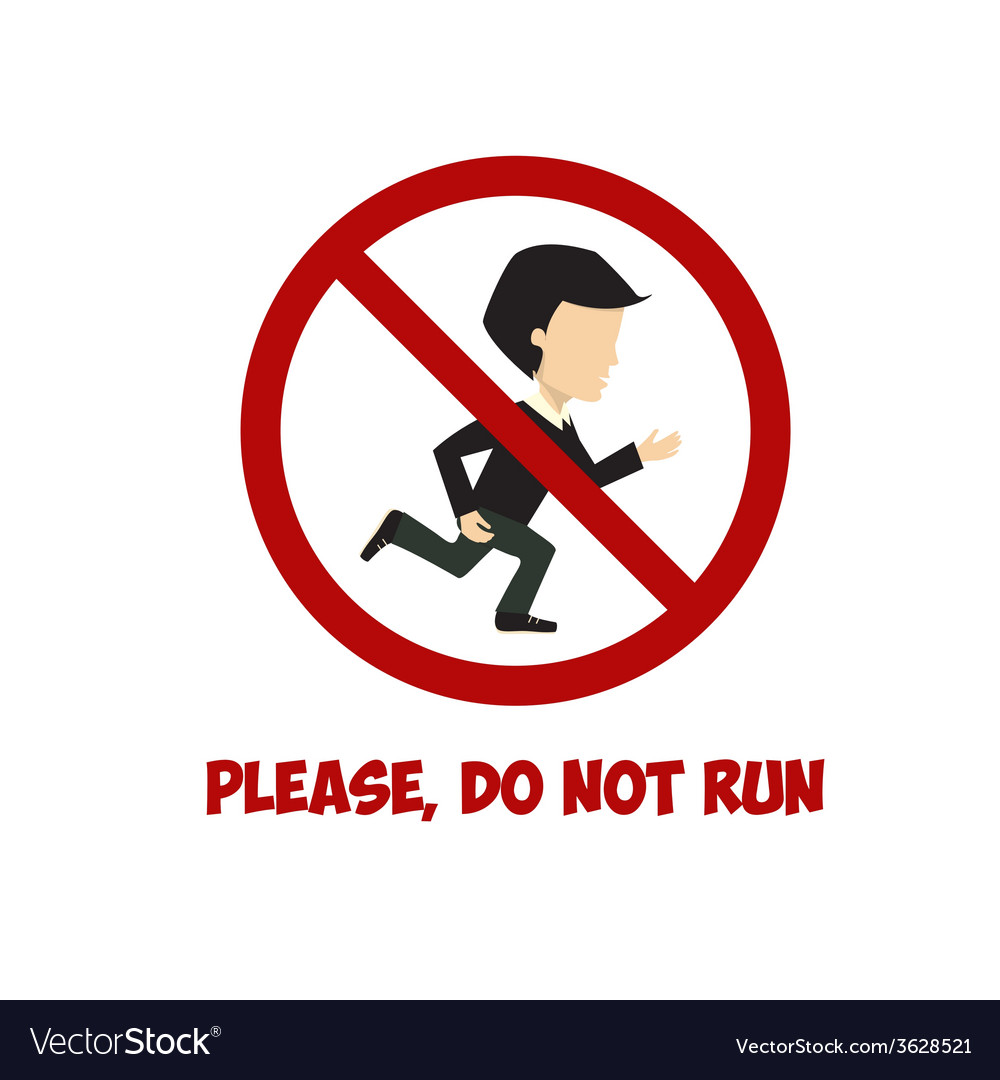 No run sign flat vector | Price: 1 Credit (USD $1)