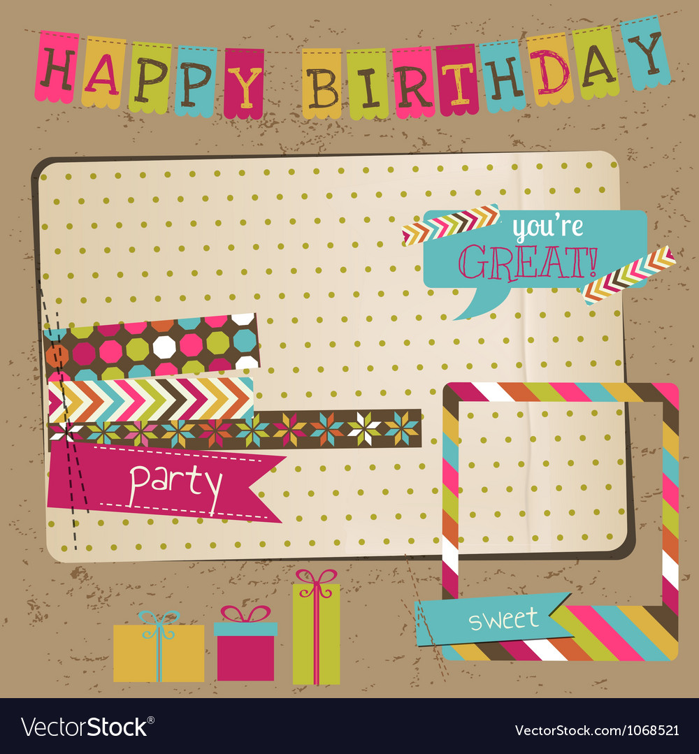 Retro birthday celebration design elements vector | Price: 1 Credit (USD $1)