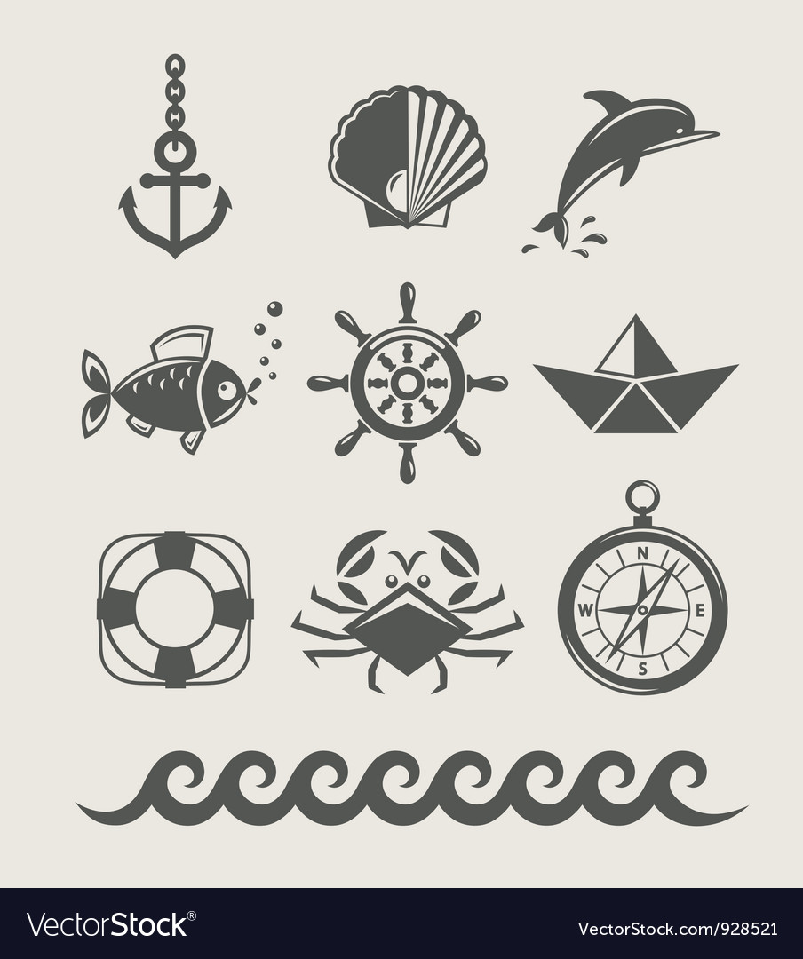 Sea and marine symbol set vector | Price: 1 Credit (USD $1)