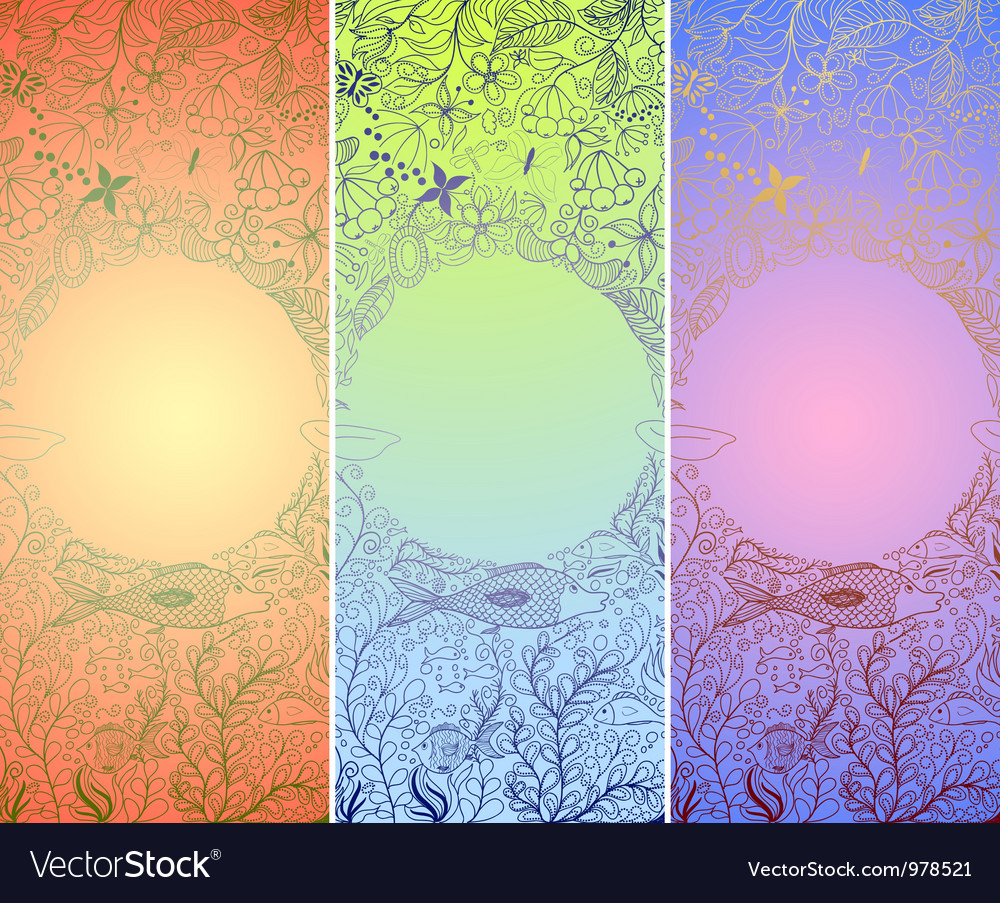 Set of underwater banners with doodle fishes and vector | Price: 1 Credit (USD $1)
