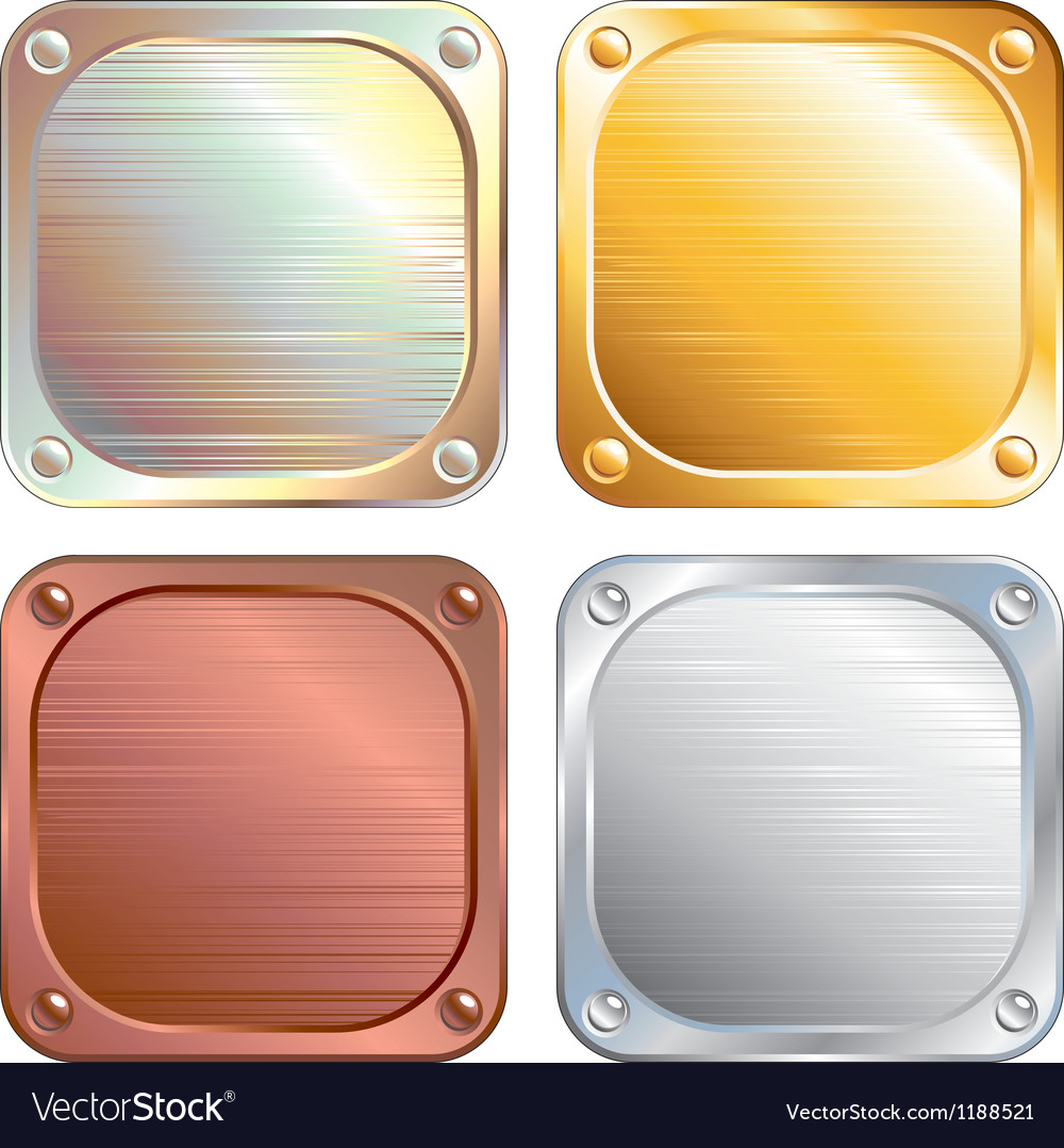 Square metallic plates signs vector | Price: 1 Credit (USD $1)