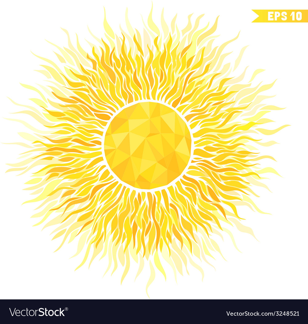 Summer sun with sunburst and geometric pattern vector | Price: 1 Credit (USD $1)