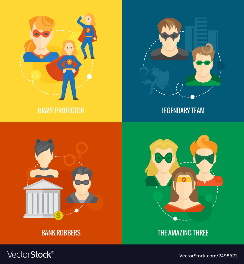 Superhero icon flat composition vector | Price: 1 Credit (USD $1)