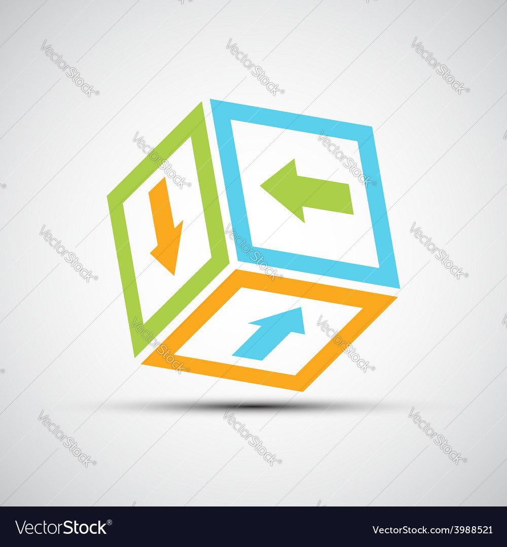 Vektor icon cube with colored arrows vector | Price: 1 Credit (USD $1)