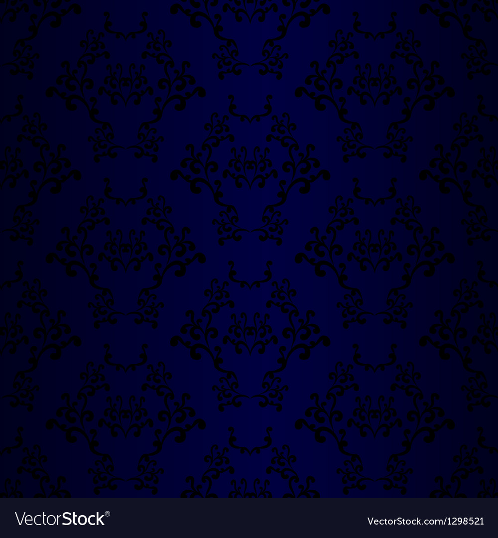 Wallpaper damask blue black vector | Price: 1 Credit (USD $1)