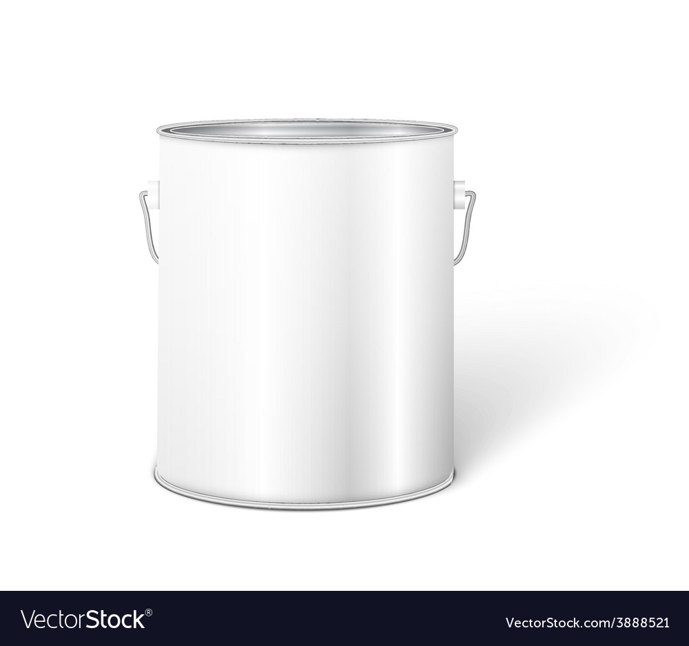 White tall tub paint bucket container with metal vector | Price: 1 Credit (USD $1)
