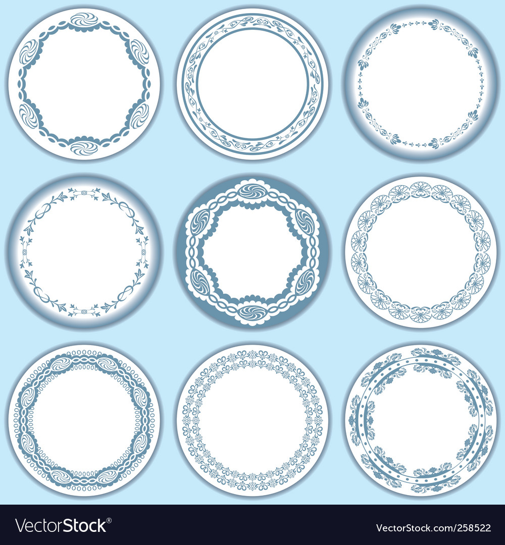 9 feminine blue labels set vector | Price: 1 Credit (USD $1)