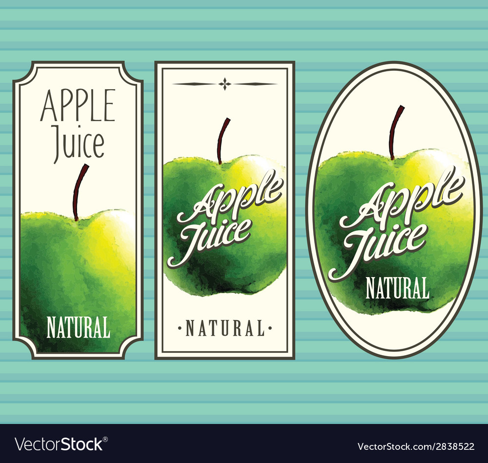 Apple juice labels set vector | Price: 1 Credit (USD $1)