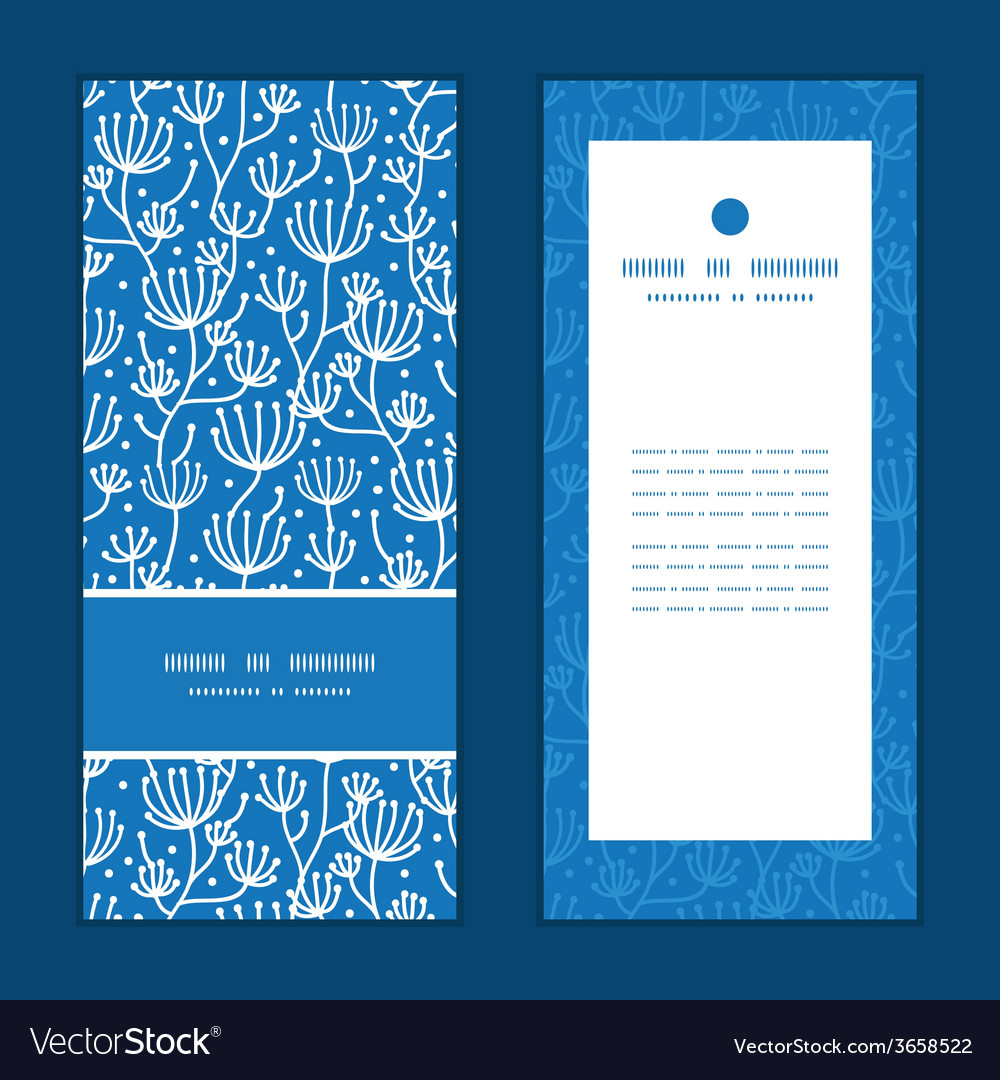 Blue white lineart plants vertical frame pattern vector | Price: 1 Credit (USD $1)