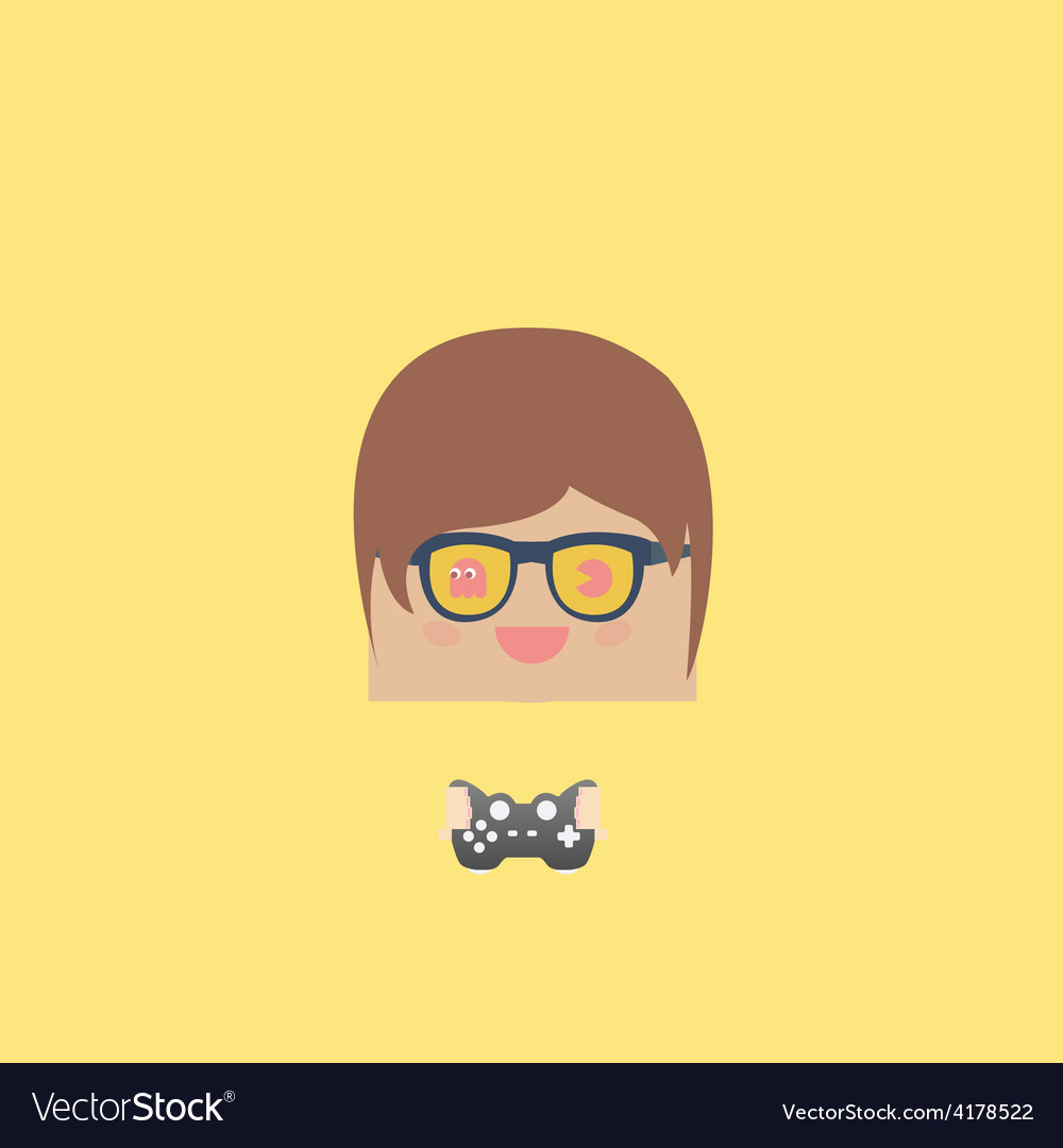 Cartoon doodle man rectangle play games vector | Price: 1 Credit (USD $1)