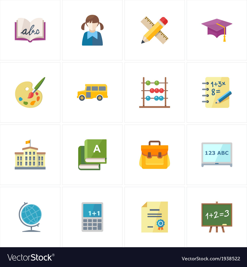 Flat education icons - set 1 vector | Price: 1 Credit (USD $1)